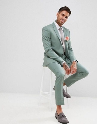 How to wear: grey tie, grey suede loafers, white dress shirt, mint suit