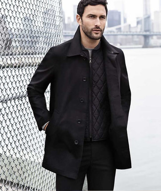 How to wear: black chinos, grey long sleeve t-shirt, black quilted gilet, black trenchcoat