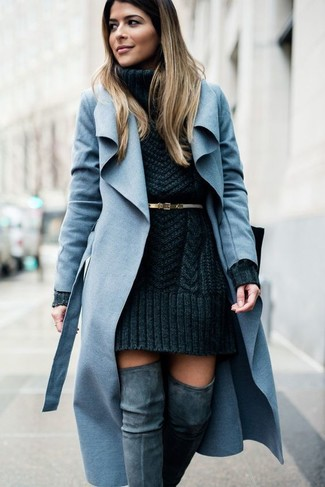 How to wear: gold leather belt, grey suede over the knee boots, charcoal knit sweater dress, light blue coat
