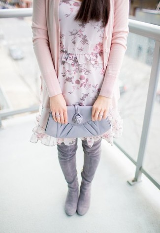 How to wear: grey leather clutch, grey suede over the knee boots, pink floral chiffon shift dress, pink cardigan