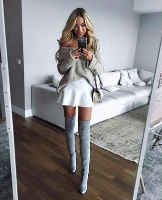 How to wear: white leather crossbody bag, grey suede over the knee boots, white skater skirt, beige oversized sweater
