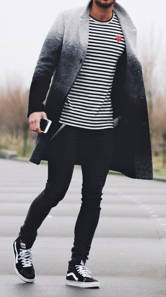 How to wear: grey ombre overcoat, white and black horizontal striped long sleeve t-shirt, black skinny jeans, black high top sneakers