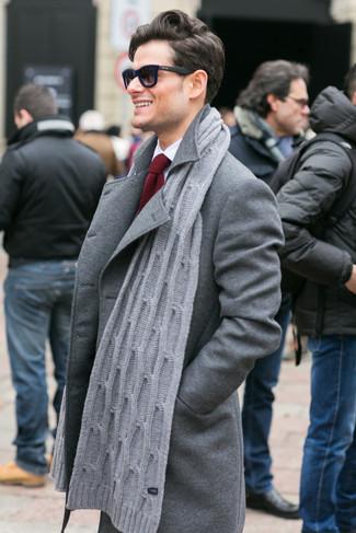 How to wear: grey overcoat, white dress shirt, red knit tie, grey knit scarf