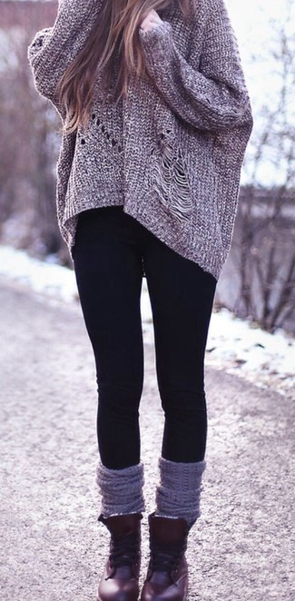 Something as simple as opting for a dark grey knit oversized sweater and black leggings can potentially set you apart from the crowd. Dark red leather lace-up flat boots will add a touch of polish to an otherwise low-key look.