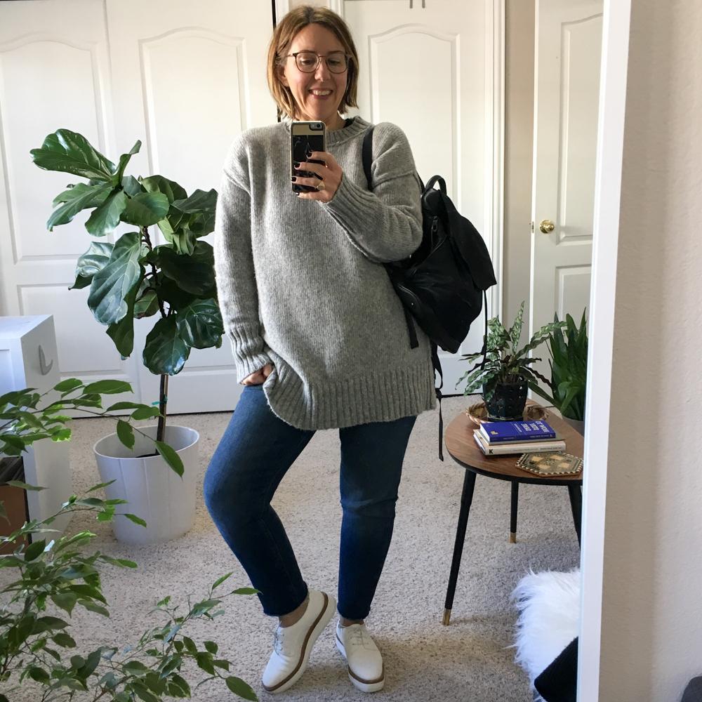 Women's Grey Knit Oversized Sweater, Blue Boyfriend Jeans, White ...