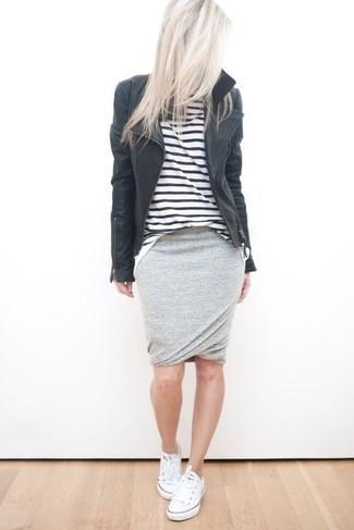 447e6e02fd66 Women's White Low Top Sneakers, Grey Pencil Skirt, White and Black ...