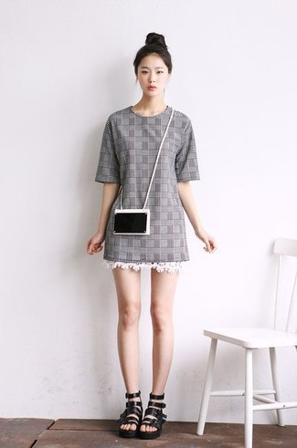 How to wear: grey plaid shift dress, black leather gladiator sandals, black clutch
