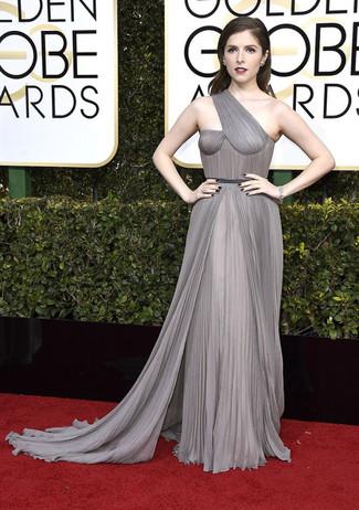 How to wear: grey pleated chiffon evening dress, silver bracelet