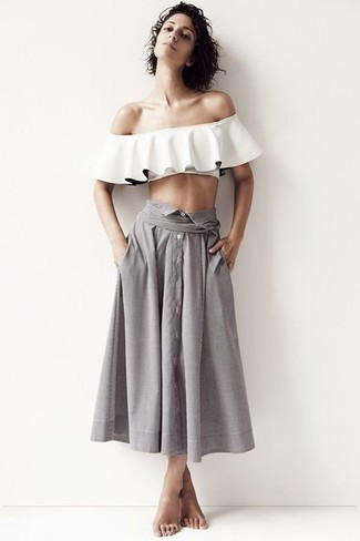 How to wear: grey pleated midi skirt, white ruffle off shoulder top