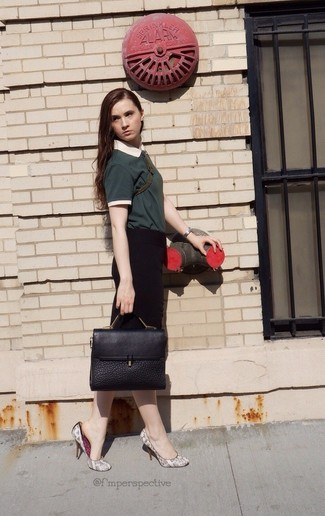 How to wear: black leather satchel bag, grey snake leather pumps, black pencil skirt, dark green polo