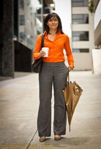 How to wear: black leather satchel bag, grey leather pumps, grey plaid dress pants, orange dress shirt