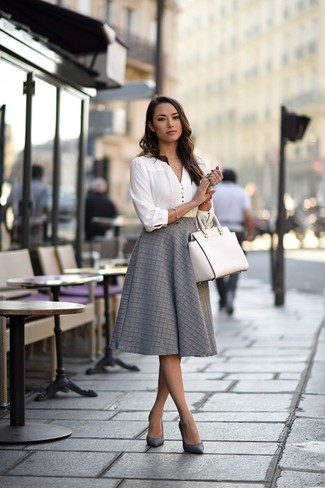How to wear: white leather tote bag, grey leather pumps, grey full skirt, white long sleeve blouse