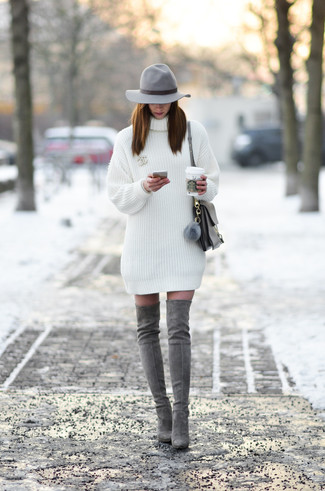 How to wear: grey wool hat, grey leather satchel bag, grey suede over the knee boots, white sweater dress