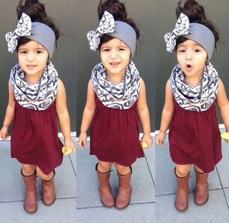 How to wear: grey scarf, brown boots, burgundy dress