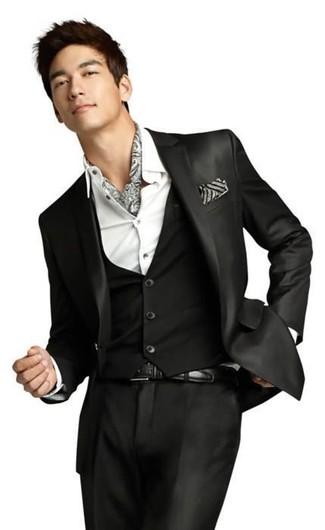 How to wear: black leather belt, grey print scarf, white dress shirt, black three piece suit