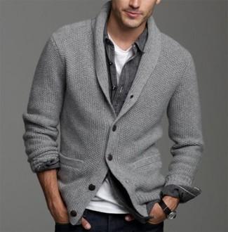 How to wear: grey shawl cardigan, black denim shirt, white crew-neck t-shirt, navy jeans
