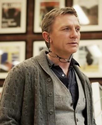 Daniel Craig wearing Grey Shawl Cardigan, Grey Wool Waistcoat, Black Long Sleeve Shirt
