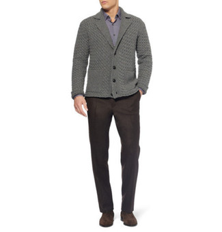 How to wear: grey shawl cardigan, purple long sleeve shirt, brown dress pants, brown suede chelsea boots