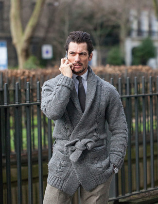 David Gandy wearing Grey Shawl Cardigan, White Dress Shirt, Grey Check Wool Dress Pants, Black Tie