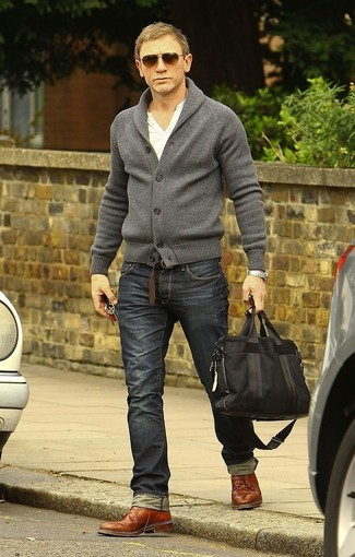Daniel Craig wearing Grey Shawl Cardigan, White Henley Shirt, Charcoal Jeans, Brown Leather Brogues