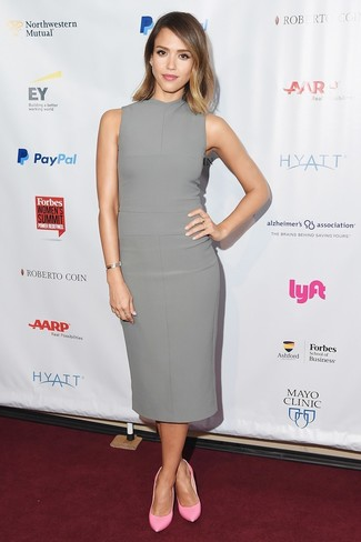 Jessica Alba wearing Grey Sheath Dress, Pink Leather Pumps