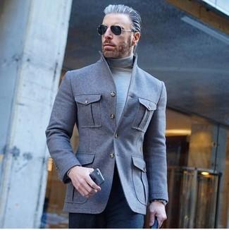 How to wear: grey wool shirt jacket, grey turtleneck, navy dress pants, black sunglasses
