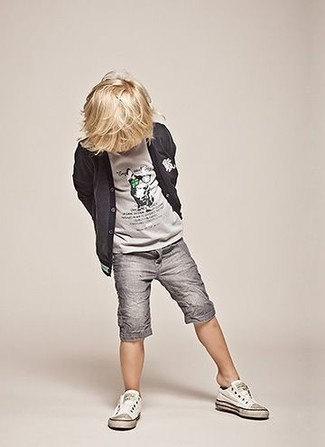 How to wear: white sneakers, grey shorts, grey t-shirt, charcoal cardigan