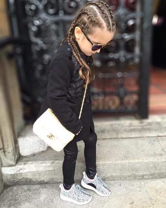 How to wear: white bag, grey sneakers, black leather leggings, black coat