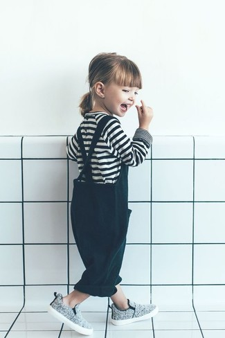 How to wear: grey sneakers, dark green overalls, white and black horizontal striped t-shirt