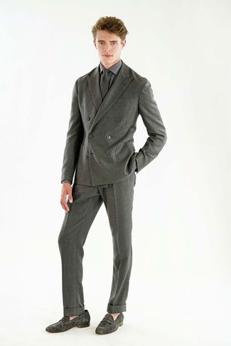 How to wear: grey wool suit, grey check dress shirt, grey suede loafers, grey wool tie