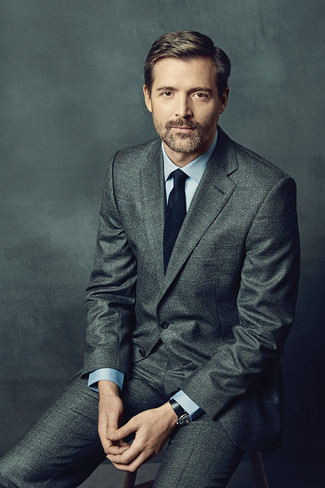 Patrick Grant wearing Grey Wool Suit, Light Blue Dress Shirt, Black Tie, Black Leather Watch