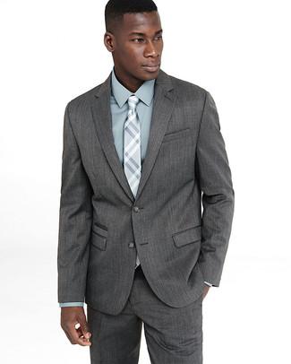 How to wear: grey suit, mint dress shirt, grey plaid tie