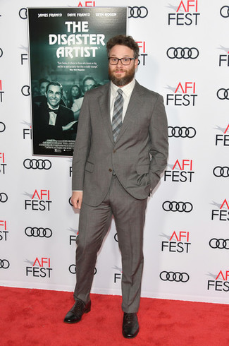 Seth Rogen wearing Grey Suit, White Check Dress Shirt, Black Leather Oxford Shoes, Grey Check Tie