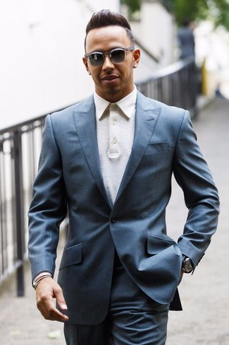 How to wear: grey suit, white polo, grey sunglasses, black leather watch