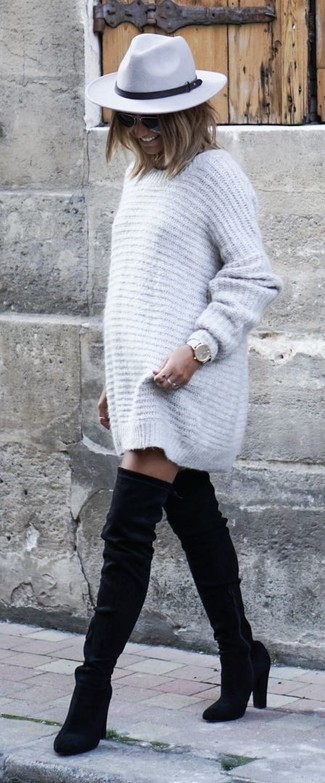 How to wear: grey sweater dress, black suede over the knee boots, grey wool hat, white leather watch