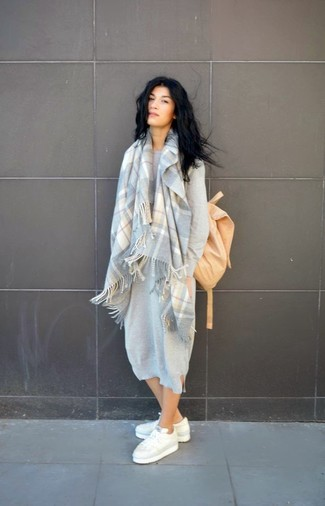 Women's Grey Sweater Dress, White Low Top Sneakers, Tan Backpack, Grey Plaid Scarf