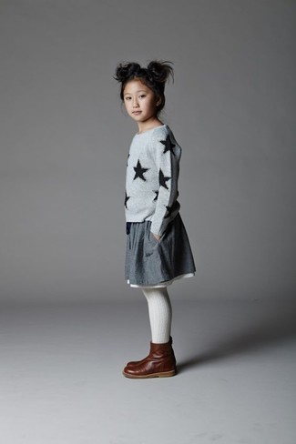 How to wear: grey star print sweater, grey skirt, dark brown leather boots, white tights