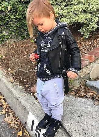 How to Wear Black Sneakers For Boys: Suggest that your little man pair a black leather jacket with grey sweatpants for a fun day in the park. Black sneakers are a great choice to complement this ensemble.