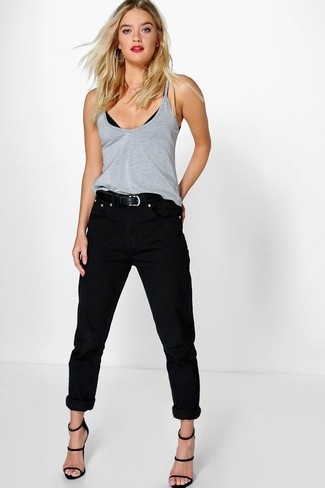 How to wear: grey tank, black boyfriend jeans, black leather heeled sandals, black leather belt