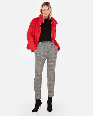 How to wear: black suede ankle boots, grey plaid tapered pants, black turtleneck, red puffer jacket