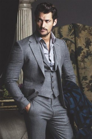 David Gandy wearing Grey Three Piece Suit, Grey Long Sleeve Shirt