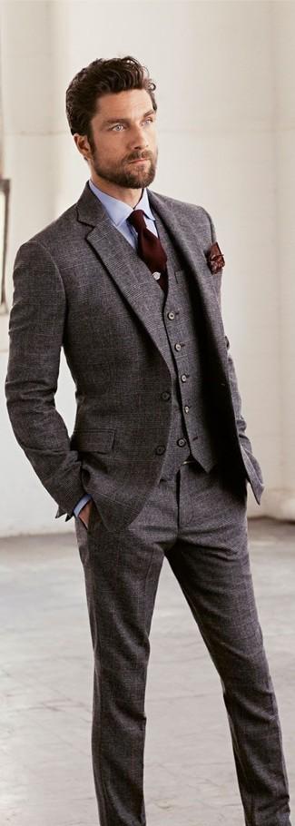 How to wear: grey wool three piece suit, light blue dress shirt, dark brown tie, dark brown print pocket square