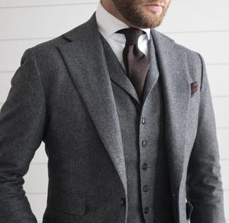 Men's Grey Wool Three Piece Suit, White Dress Shirt, Dark Brown Tie, Dark Brown Pocket Square