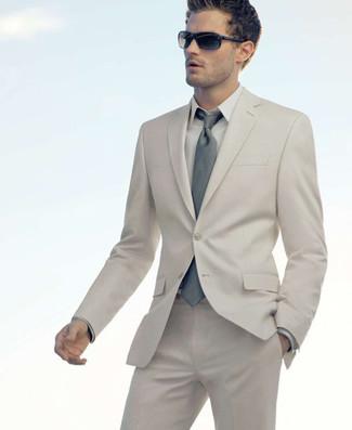 How to wear: grey tie, beige dress shirt, beige suit