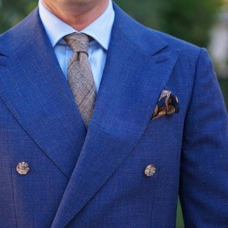 How to wear: navy paisley pocket square, grey plaid tie, light blue dress shirt, blue double breasted blazer