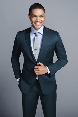 How to wear: grey tie, light blue dress shirt, teal suit