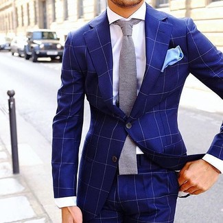 How to wear: light blue pocket square, grey knit tie, white dress shirt, blue check suit