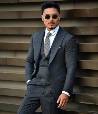 How to wear: black sunglasses, grey tie, white dress shirt, charcoal three piece suit