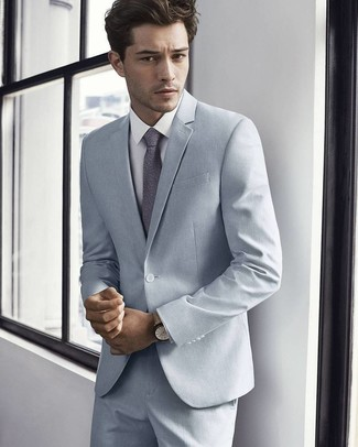 How to wear: beige leather watch, grey floral tie, white dress shirt, grey suit