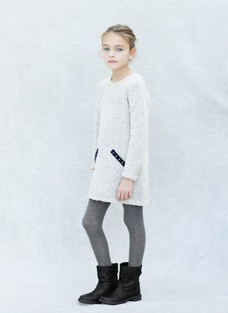 How to wear: grey tights, black boots, white knit dress
